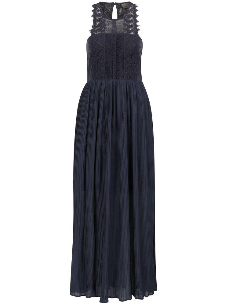 Modrošedé maxišaty s krajkovým zdobením a plisovanou sukní VERO MODA Celeste