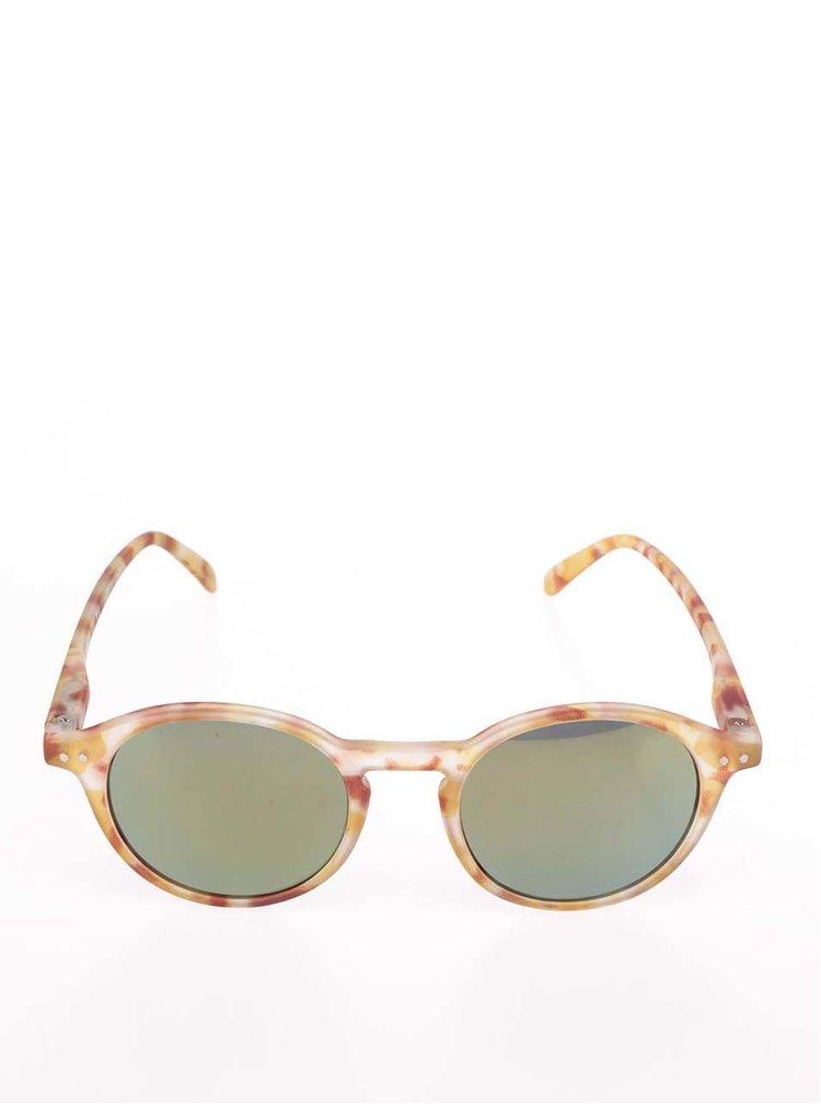Hnědo-žluté vzorované unisex sluneční brýle s černými skly IZIPIZI  #D