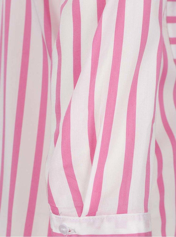 Růžovo-bílá pruhovaná halenka s kapsami VERO MODA Erika