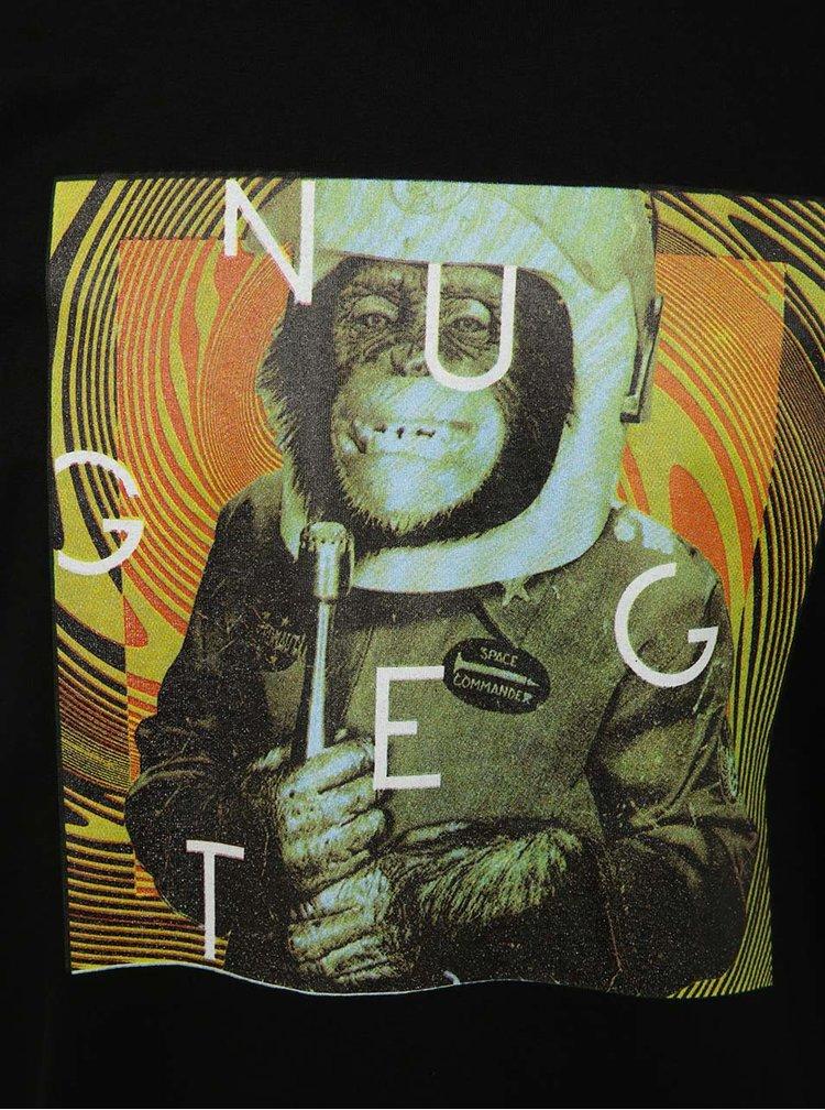 Tricou negru cu print NUGGET Looper pentru bărbați