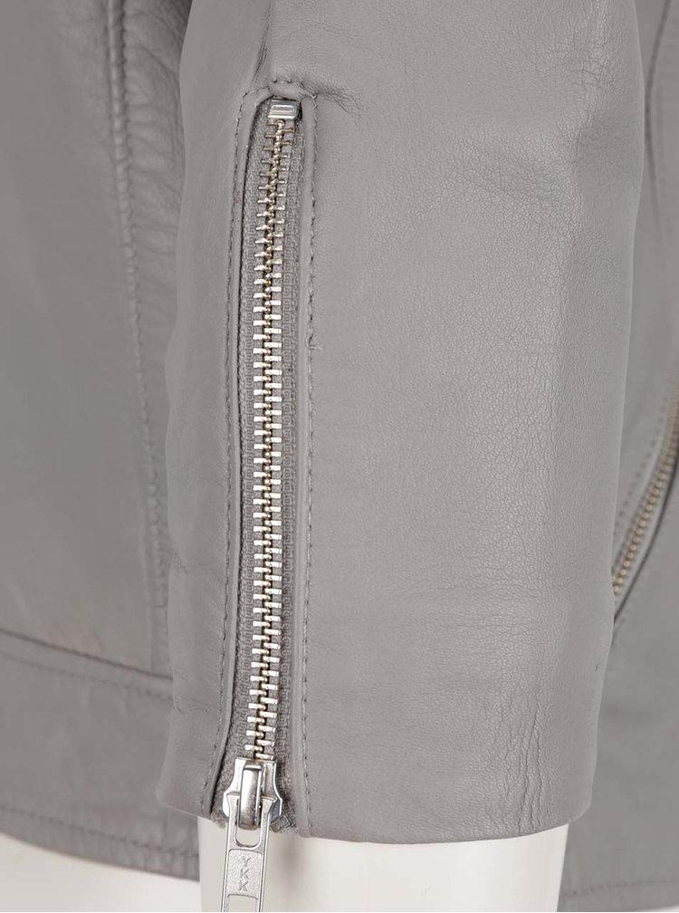 Šedá kožená bunda Selected Femme Marlen