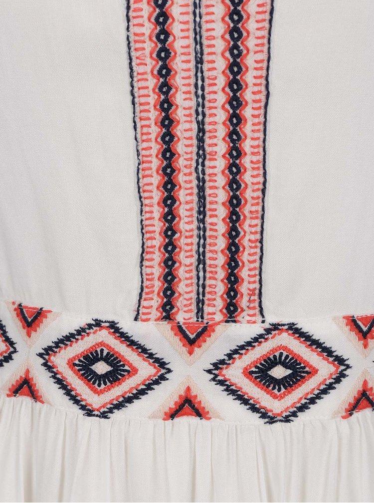 Krémové šaty bez rukávů s ozdobným vyšíváním VERO MODA Jas