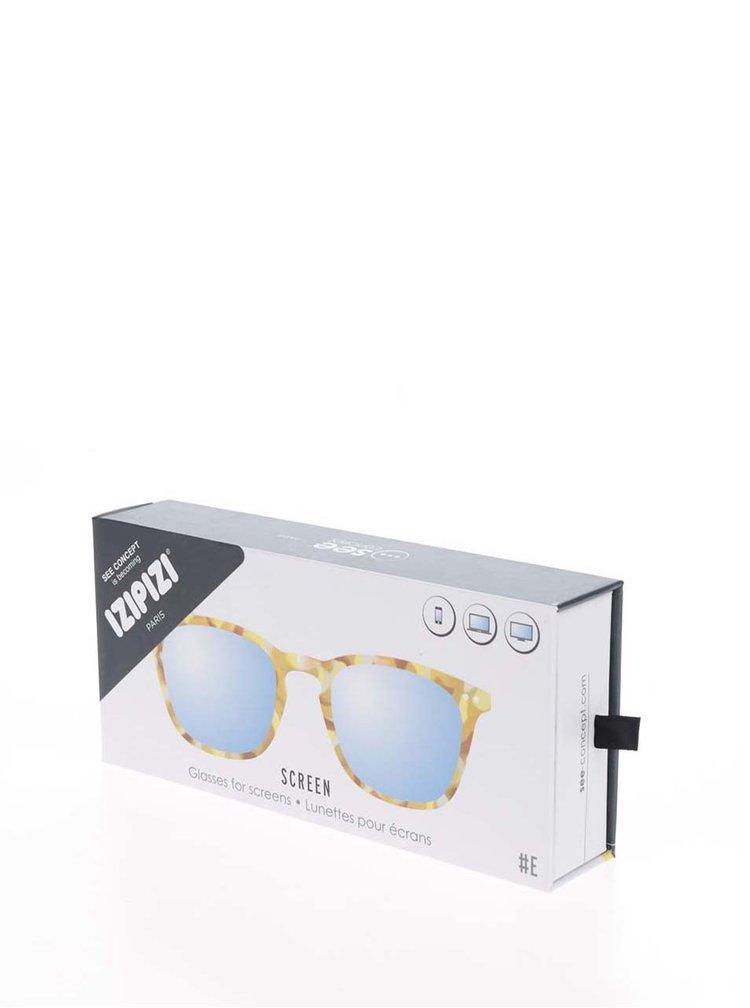 Žluto-hnědé vzorované unisex ochranné brýle k PC  IZIPIZI #E