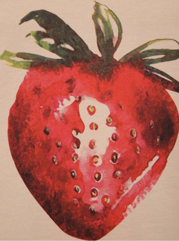 Růžové holčičí tričko s potiskem jahody LIMITED by name it Sama