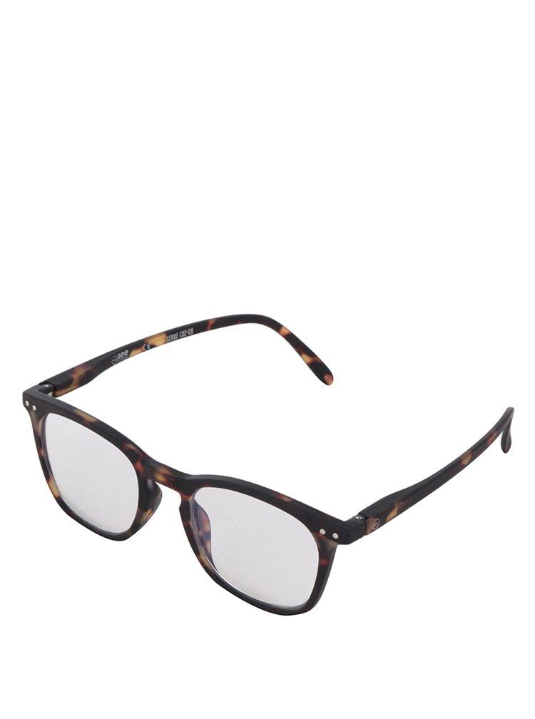 Černo-hnědé vzorované unisex ochranné brýle k PC  IZIPIZI #E