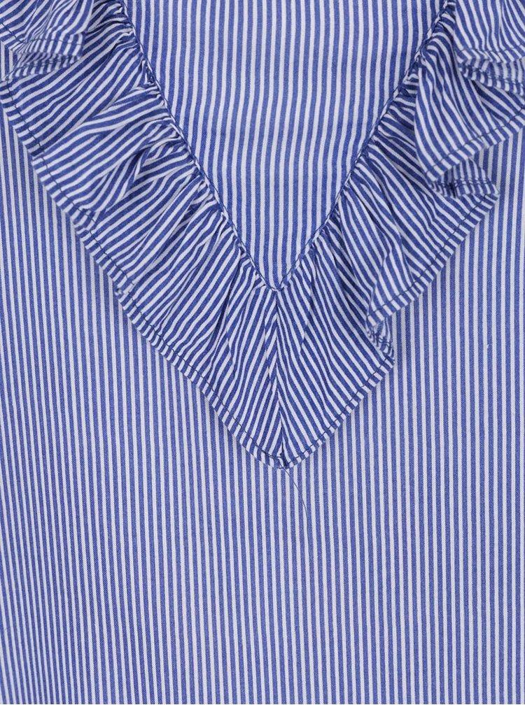 Bluză albastră VERO MODA Wholy cu volan decorativ