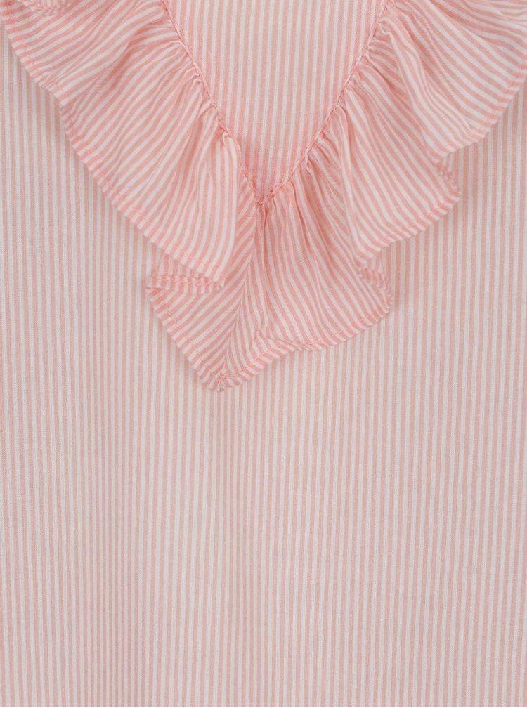 Světle růžová pruhovaná volná halenka bez rukávů s volánem VERO MODA Wholy