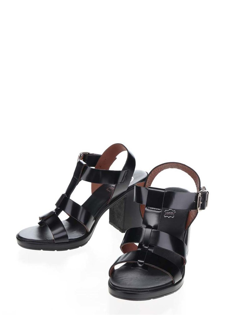 Černé dámské kožené sandálky na širokém podpatku OJJU