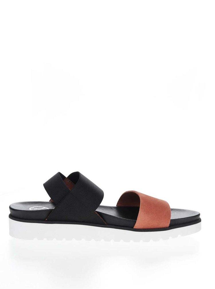 Oranžovo-černé dámské sandály OJJU