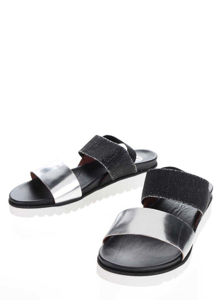 Sandale negru&argintiu OJJU cu baretă elastică