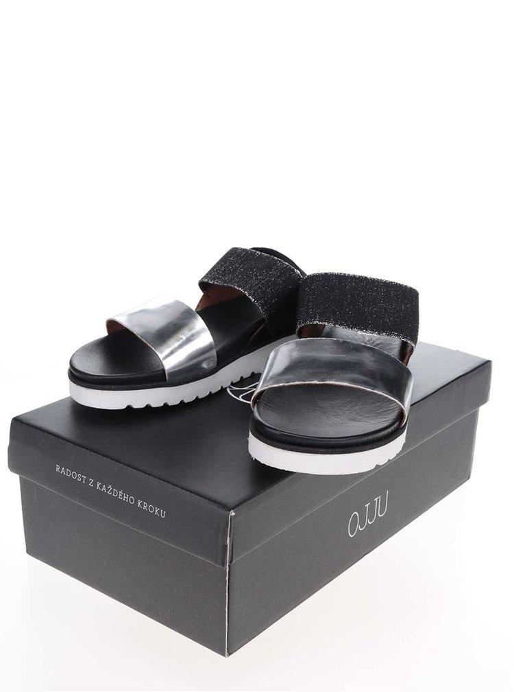 Dámské sandály ve stříbrno-černé barvě OJJU