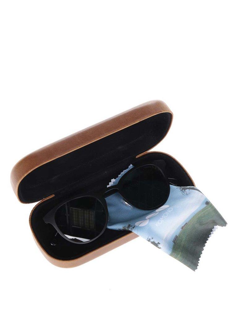 Ochelari de soare negri unisex cu rama metalica Komono Hollis