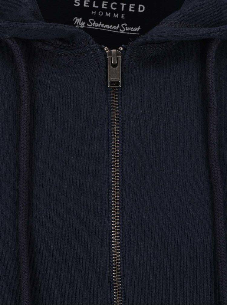 Tmavě modrá mikina s kapucí a zipem Selected Homme Basic