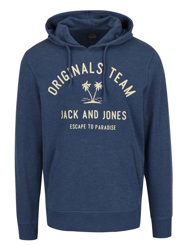 Modrá mikina s kapucí a potiskem Jack & Jones Tropical