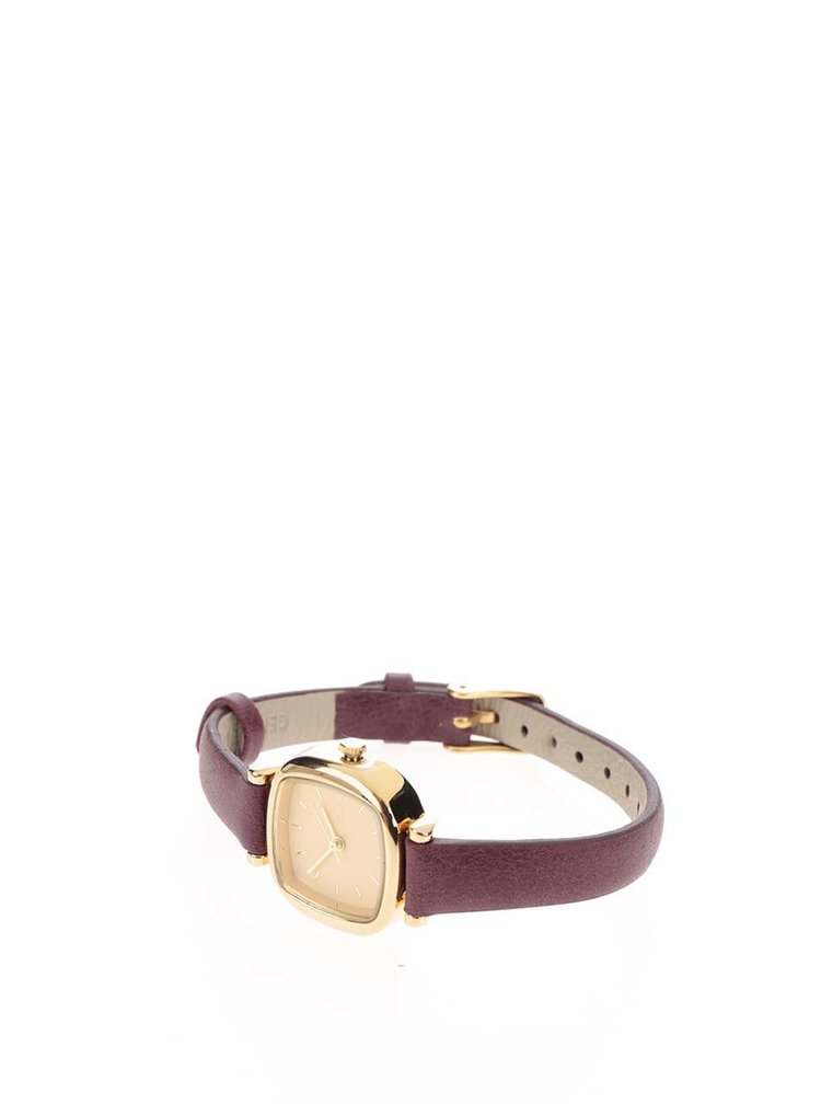 Dámské hodinky s vínovým koženým páskem Komono Moneypenny