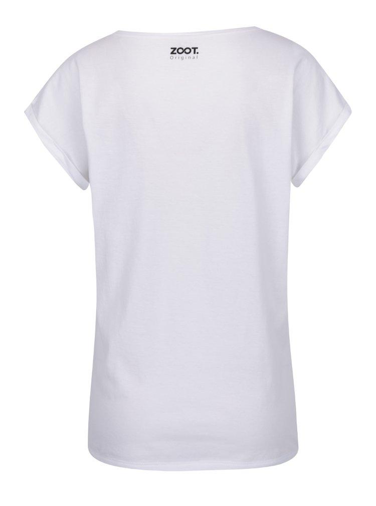 Tricou alb de damă ZOOT Originál Fashion passion cu print