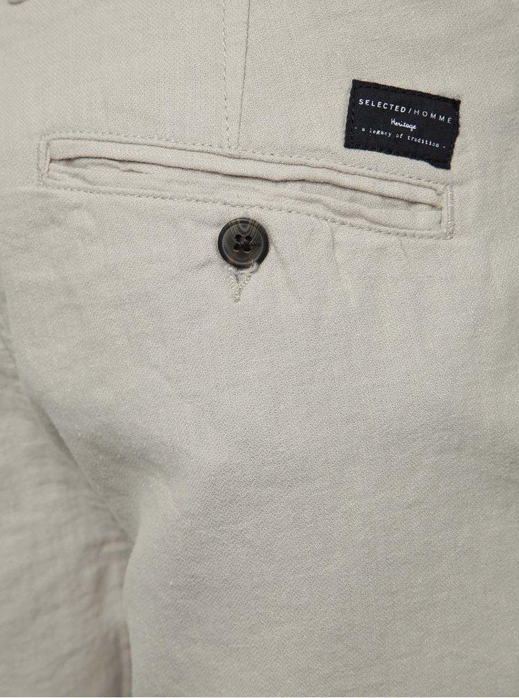 Pantaloni scurți crem  Selected Homme Paris cu terminații îndoite