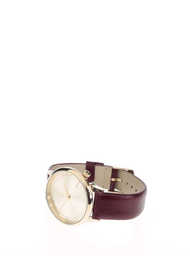 Dámské hodinky ve zlaté barvě s vínovým koženým páskem Komono Estelle