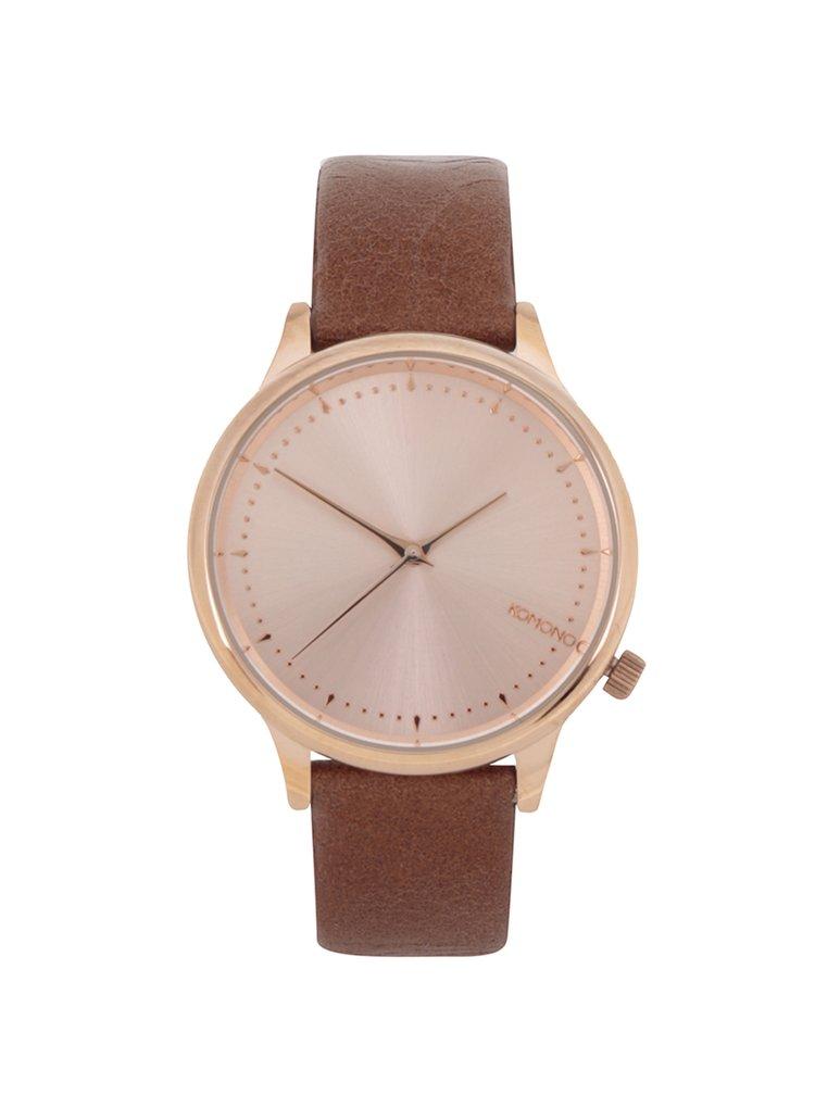 Dámské hodinky v růžovozlaté barvě s hnědým koženým páskem Komono Estelle