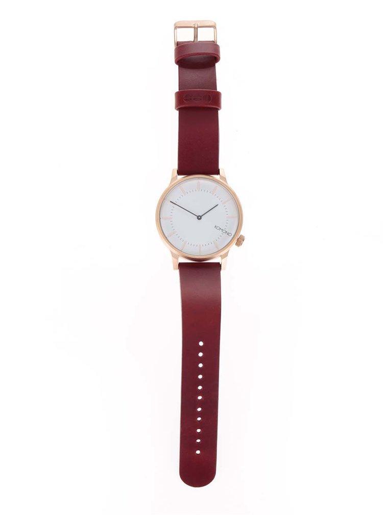 Unisex hodinky s červeným koženým páskem Komono Winston Regal