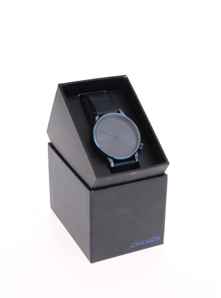 Modré unisex hodinky s koženým páskem Komono Winston Regal