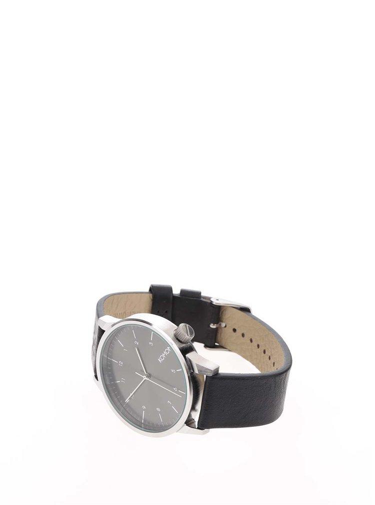 Černé unisex hodinky s koženým páskem Komono Winston Regal