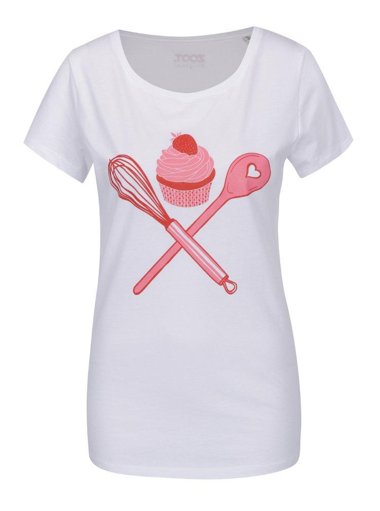 Tricou alb cu imprimeu ZOOT Original Cupcake de dama