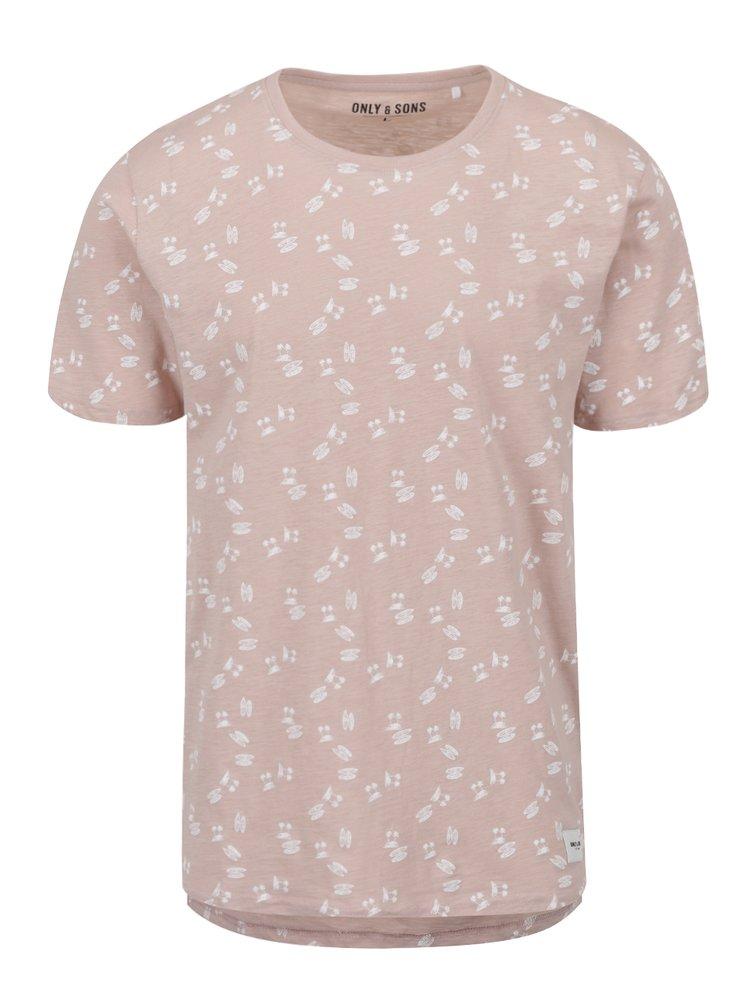 Tricou roz prăfuit ONLY & SONS Simon cu imprimeu