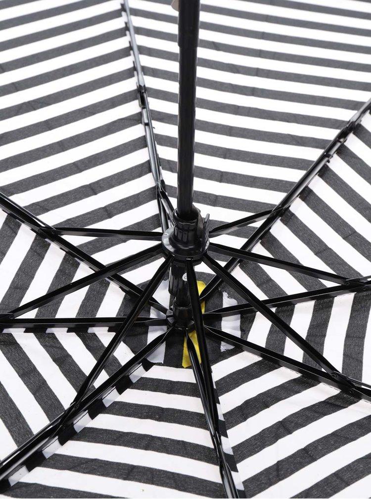 Krémovo-černý dámský pruhovaný deštník se žlutým pruhem Derby