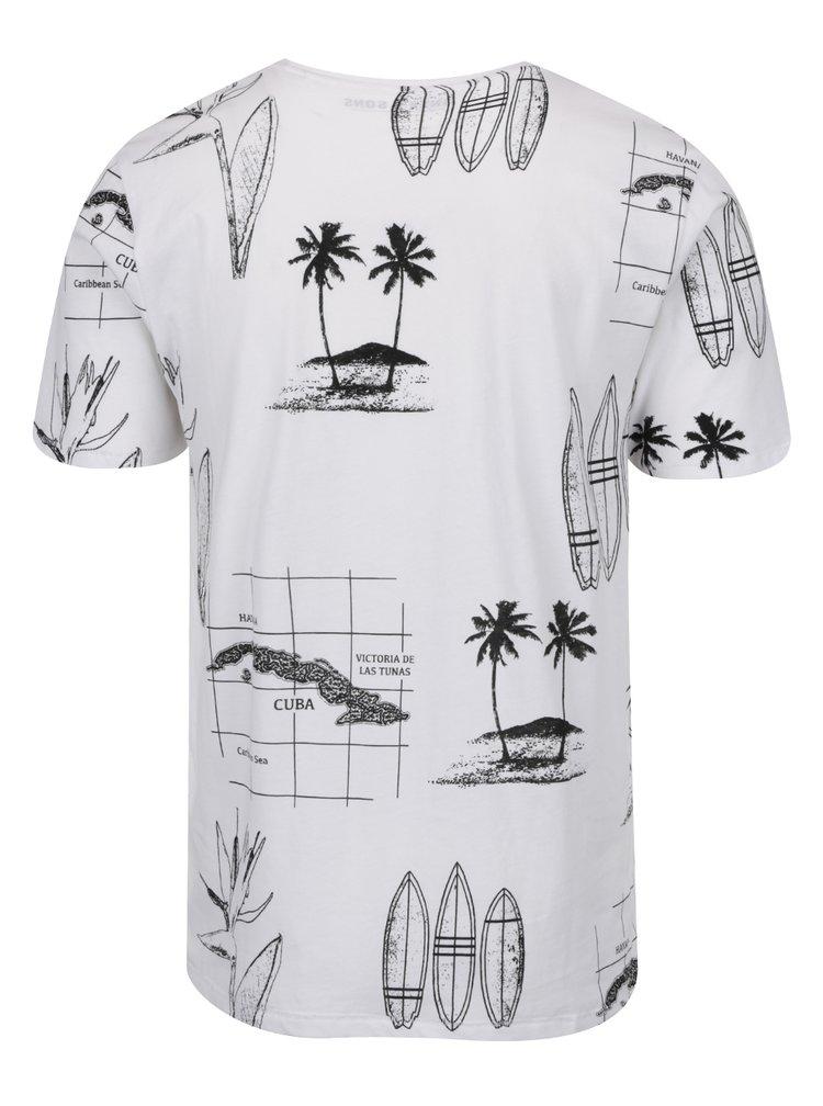 Bílé triko s potiskem ONLY & SONS Sol