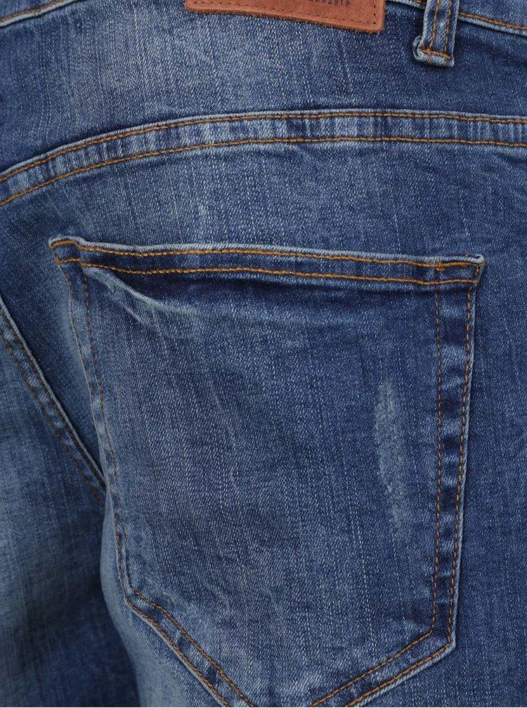 Modré džínové kraťasy s potrhaným efektem Only & Sons Weft
