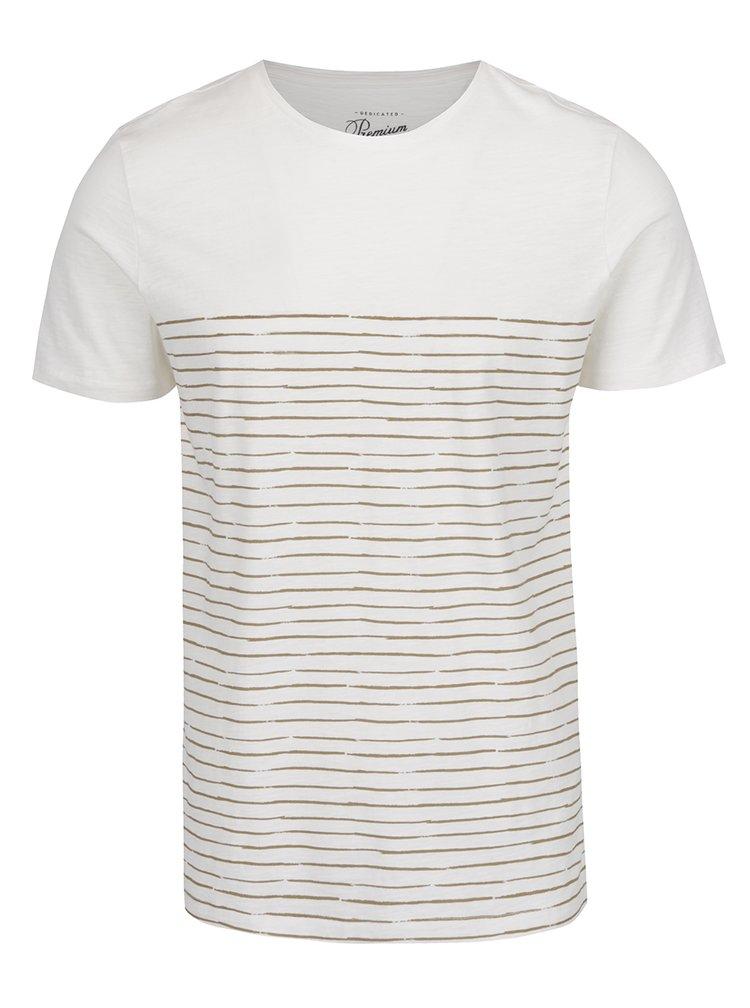 Bílé pruhované triko Jack & Jones Artwork