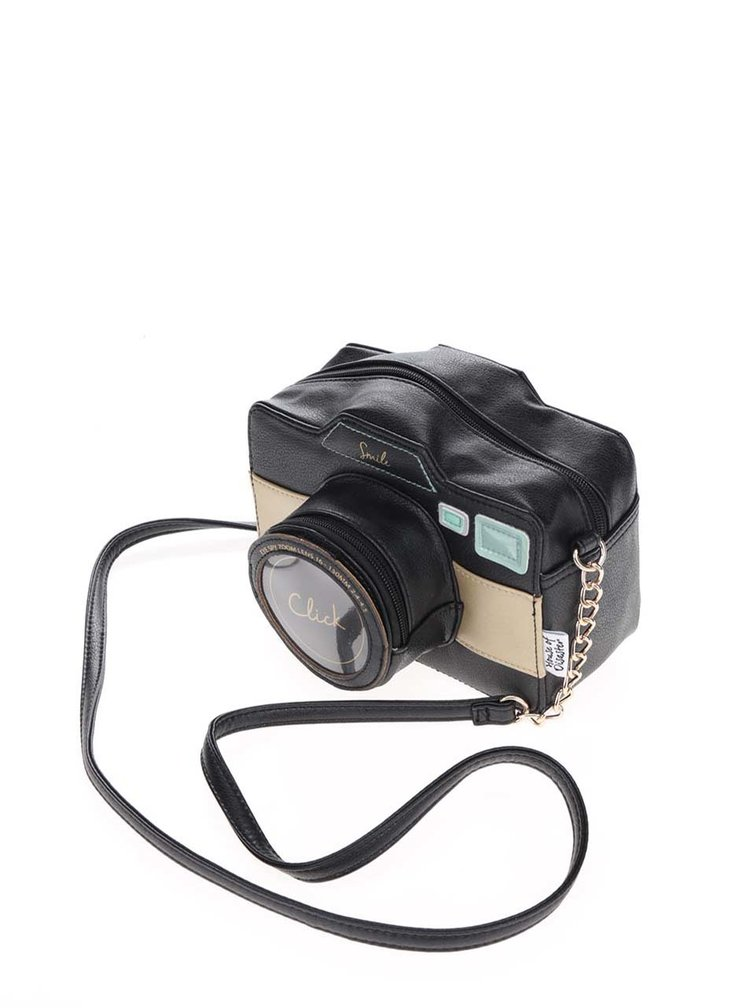 Geantă crossbody neagră în formă de aparat foto Disaster