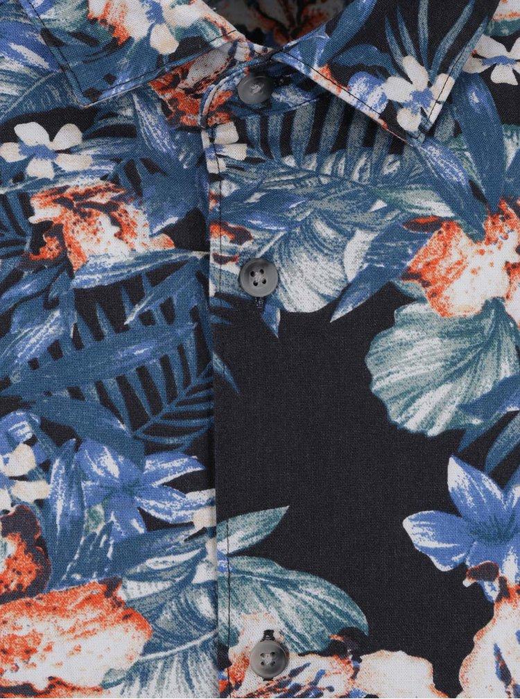 Camasa portocaliu&albastru Jack & Jones Rich cu maneci scurte si imprimeu floral