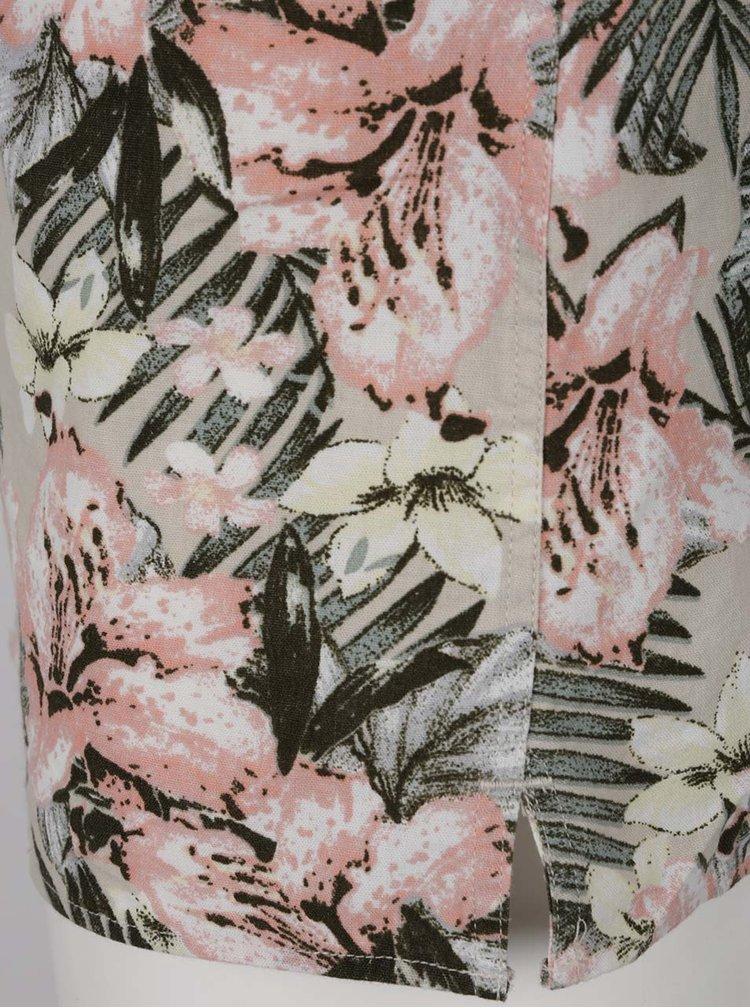 Zeleno-béžová květovaná košile s krátkým rukávem Jack & Jones Rich