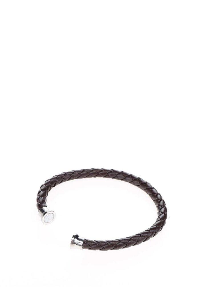 Tmavě hnědý koženkový náramek Jack & Jones Rick