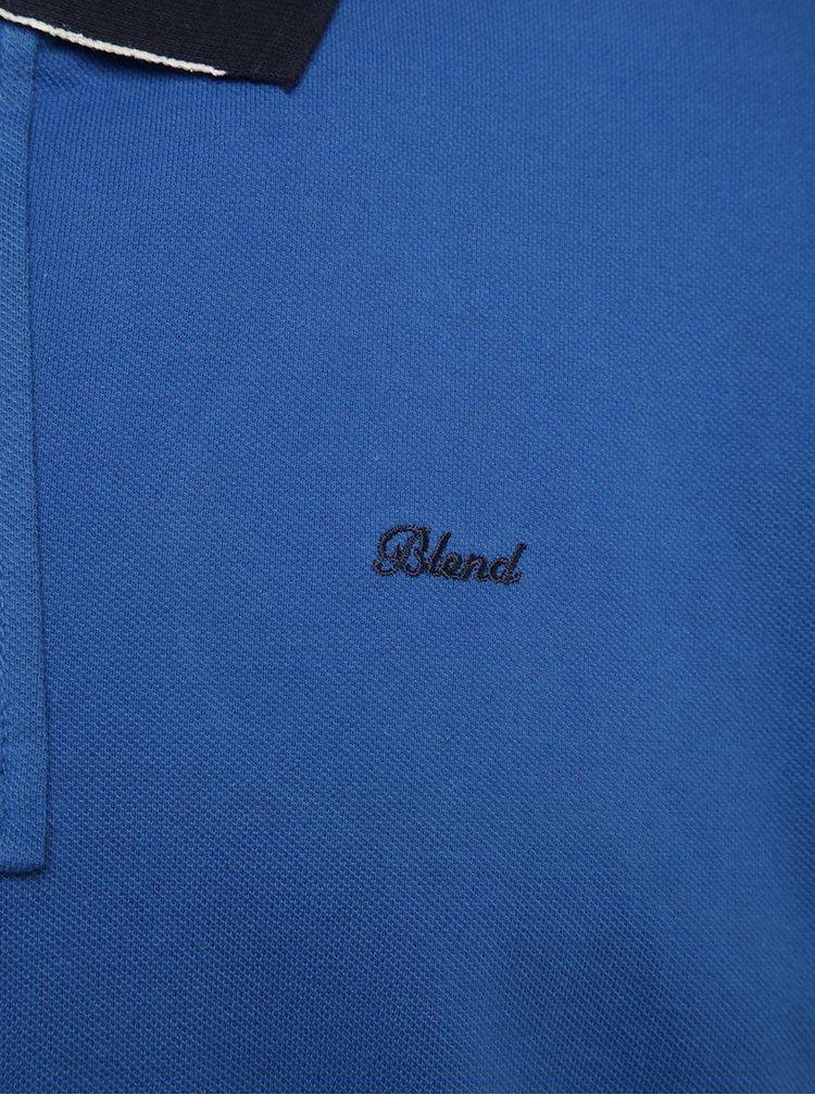 Tricou polo albastru Blend cu detalii negre