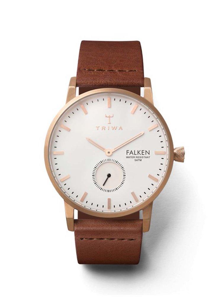 Unisex hodinky v růžovozlaté barvě s hnědým koženým páskem TRIWA Rose Falken