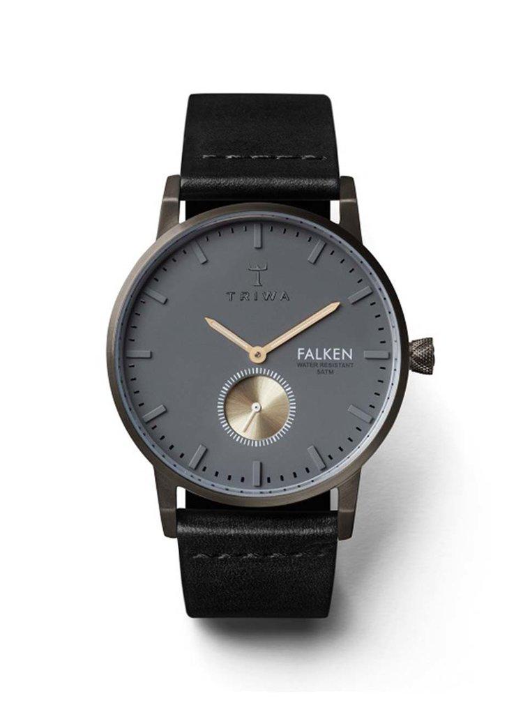Šedé unisex hodinky s černým koženým páskem TRIWA Walter Falken
