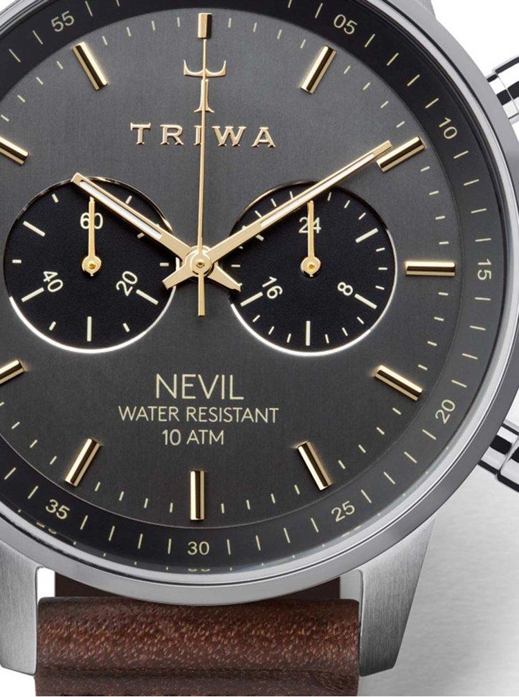 Unisex hodinky ve stříbrné barvě s tmavě hnědým koženým páskem TRIWA Smoky Nevil