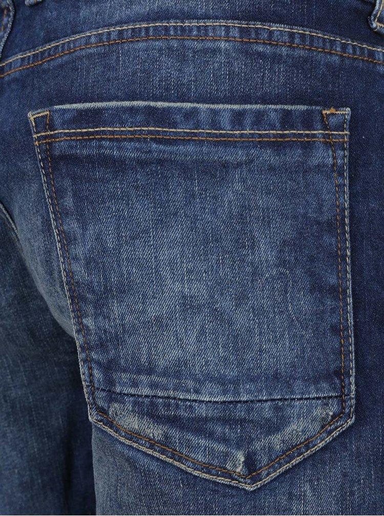 Pantaloni scurti albastri Burton Menswear London din denim cu efect de uzura