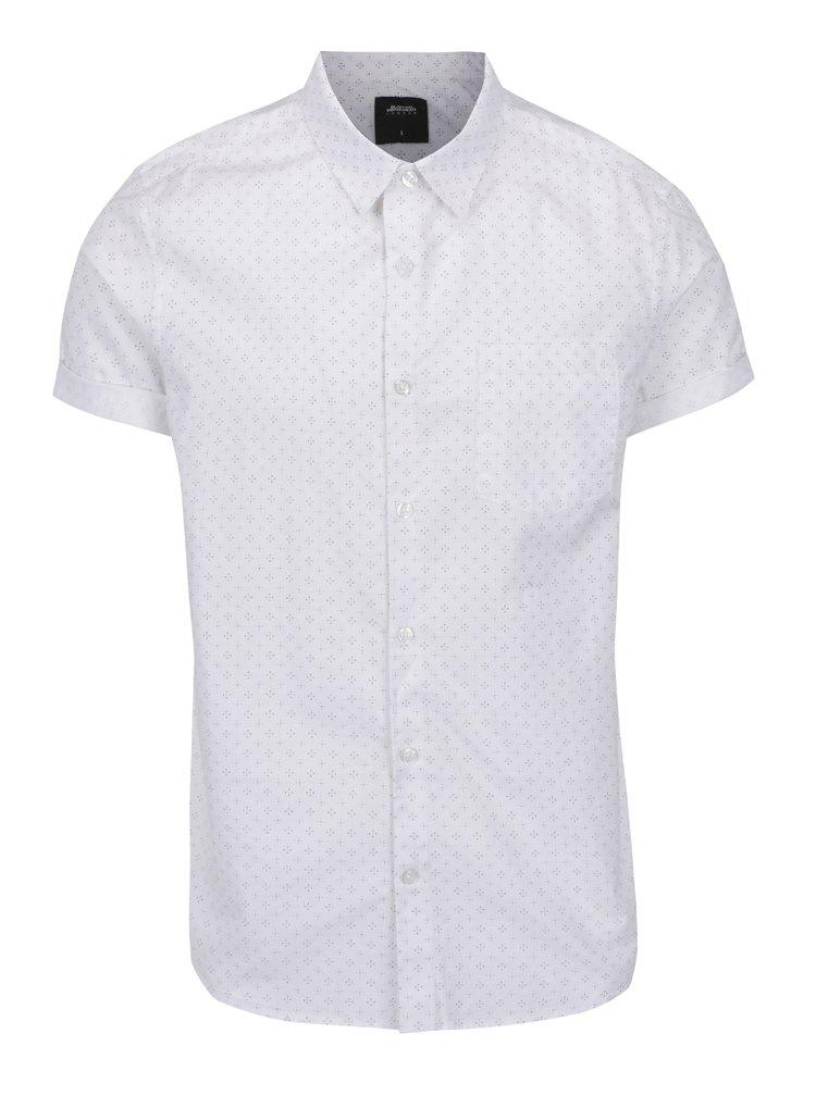 Krémová vzorovaná košile s náprsní kapsou Burton Menswear London