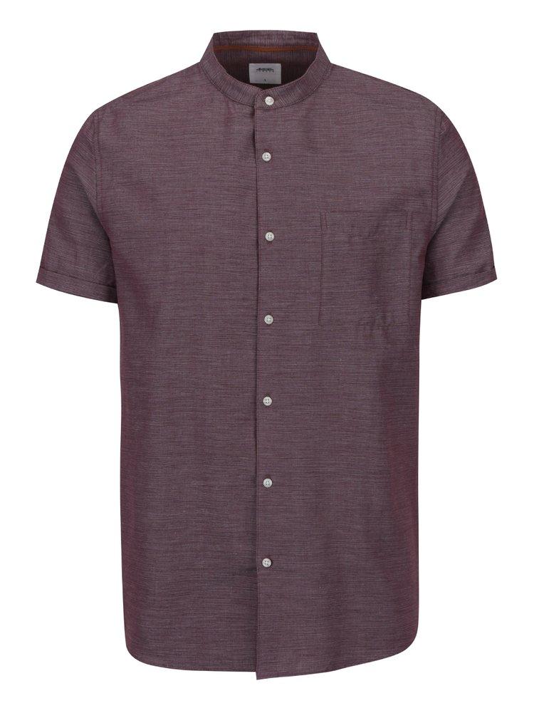 Vínová žíhaná košile bez límečku Burton Menswear London