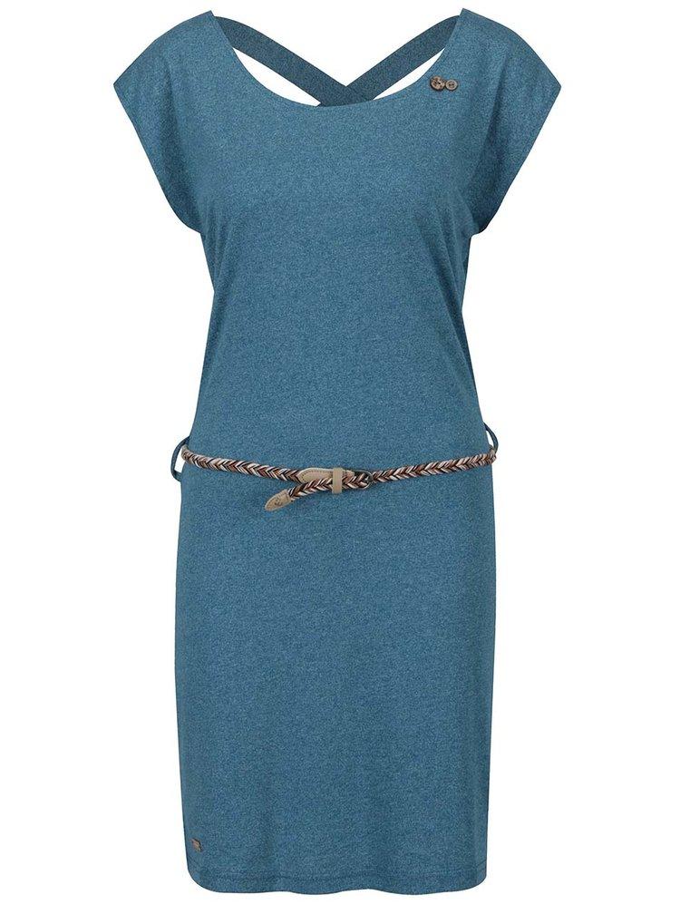 Rochie albastru melanj Ragwear Sofia cu bretele încrucișate la spate