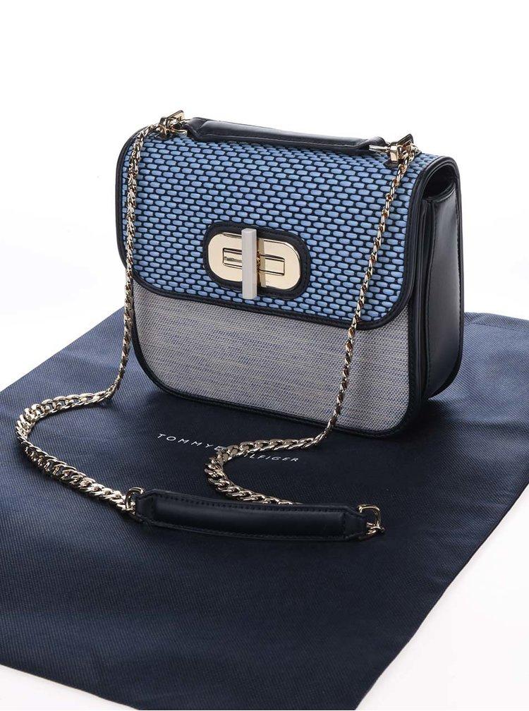 Modrá crossbody kabelka s detaily ve zlaté barvě Tommy Hilfiger