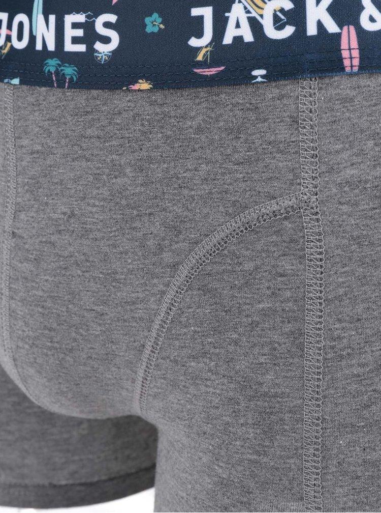 Šedé žíhané boxerky se vzorovanou gumou Jack & Jones Albert