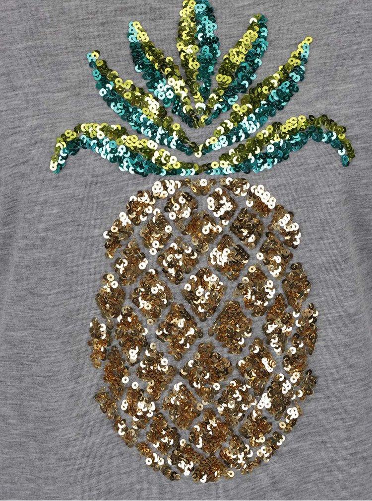 Tricou gri melanj  Dorothy Perkins cu ananas din  paiete
