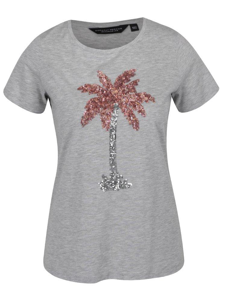 Šedé tričko s flitry a motivem palmy Dorothy Perkins