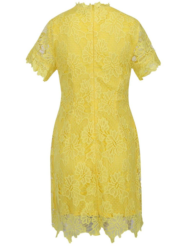 Žluté krajkové šaty s krátkým rukávem AX Paris