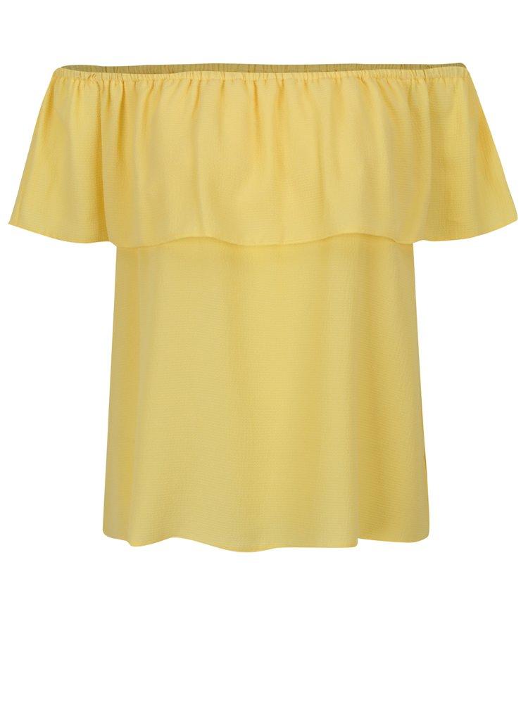 Žlutá halenka s odhalenými rameny a volánem Dorothy Perkins